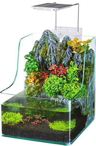 of penn plax aquariums dec 2021 theres one clear winner Penn-Plax Aqua Terrarium Planting Tank with Aquarium for Fish, Waterfall, LED Light, Filter, Desktop Size, 1.85 Gallon