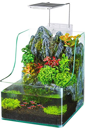 Penn-Plax Aqua Terrarium Planting Tank with Aquarium for Fish, Waterfall, LED Light, Filter, Desktop Size, 1.85 Gallon