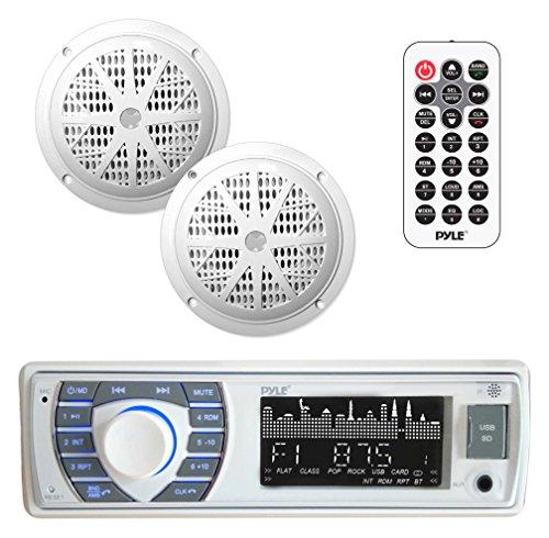 Marine Receiver amp Speaker Kit  InDash LCD Digital Stereo Builtin Bluetooth amp Microphone w/ AM FM Radio System 525'' Waterproof Speakers 2 MP3/USB/SD Readers amp Remote Control  Pyle PLMRKT36WT
