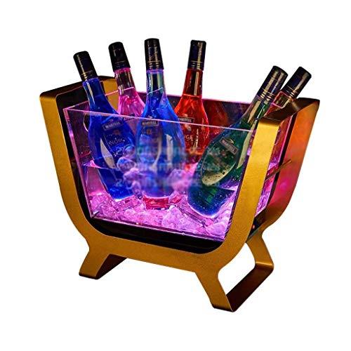 GaoF Cubo de Hielo LED, Cubo de enfriamiento LED Descolorido, Barril de Cerveza de enfriamiento de champán de Gran Capacidad para Fiestas
