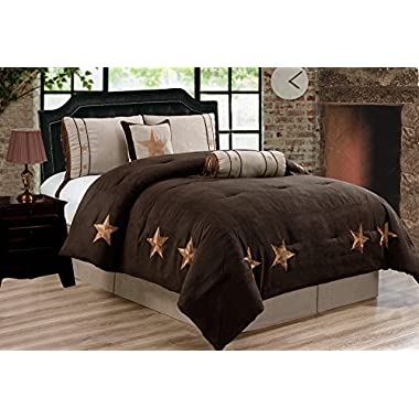 Grand Linen 6 Piece Chocolate Brown/Taupe/Camel Oversize LODGE CABIN Queen Size (96 X96 ) Comforter Set Micro Suede Texas Lone Star Rustic Western Decor Bedding