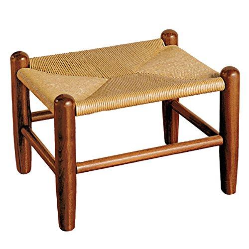 Monticello Handmade Woven Rush Footstool with Walnut Framing