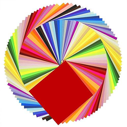 WANWE Papel De Origami 50 Colores Vivos Doble Cara 200 Hojas Calidad Superior 15 Cm X 15 Cm Para Proyectos De Artes Y Artesanías - Mismo Color En Ambos Lados