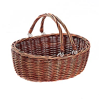Wicker Picnic Basket Hamper with Double Folding Handles.Kingwillow. ( Brown)