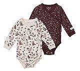 Tiny One Baby Langarm Strampler im 2er Pack für Mädchen und Jungen - Baby Kleidung aus biologischer und GOTS zertifizierter Baumwolle - 62, Bordeaux & Rosa