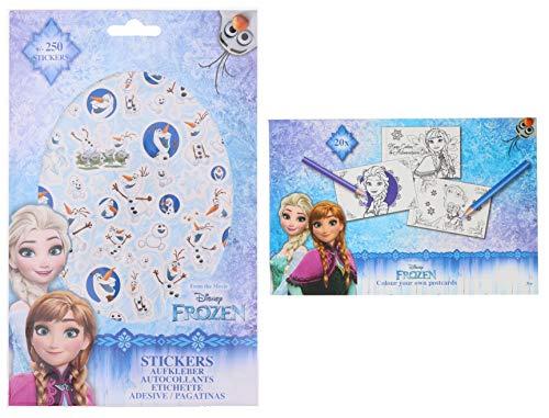 """Ausmal-Postkarte Disney Postkarten Set zum Ausmalen & Sticker –""""Frozen – Die Eiskönigin Aufkleber"""