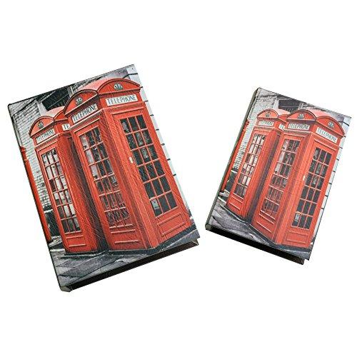 Rebecca SRL Lot 2 Boites de Rangement Livre Bois PVC Rouge Gris Cabine telephonique Moderne Idee Cadeau (Cod. RE4773)