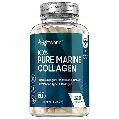 Colágeno Hidrolizado Marino Dosis Alta de 1170 mg 120 Cápsulas | 100{9f03addc92e994c972d43ca37adb66811fe389756b3c9bdb9808927fe6debeb7} Péptidos Colágeno Marino Puro de Peces Salvajes, Proteínas de Colágeno para la Masa Muscular Para Huesos y Articulaciones