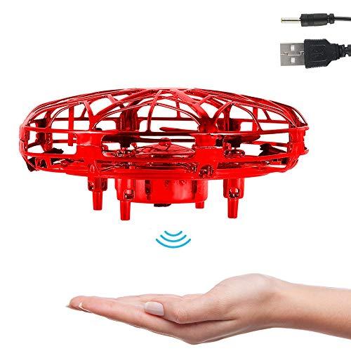 UFO Mini Drohne Fliegendes Spielzeug Handgesteuerte Flugdrohne mit LED Leuchten Infrarot-Induktion 360 ° Drehung Flying Ball Geschenke für Jungen Mädchen Einfache Indoor Outdoor (Rot)