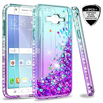 LeYi Compatible with Galaxy J7 2015/J7 NEO Case with 2 Tempered Glass Screen Protector for Girls Women Glitter Clear Phone Case for Samsung Galaxy J7 J700 2015 Teal/Purple