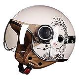 QYHSS Motorradhelm, Jethelm, ECE- und DOT-Zertifiziert, Vintage Jet Pilot Cruiser-Rollerhelm, Separate Visiere, inkl. Stoffbeutel, Beige, M, L, XL (59~60 cm)