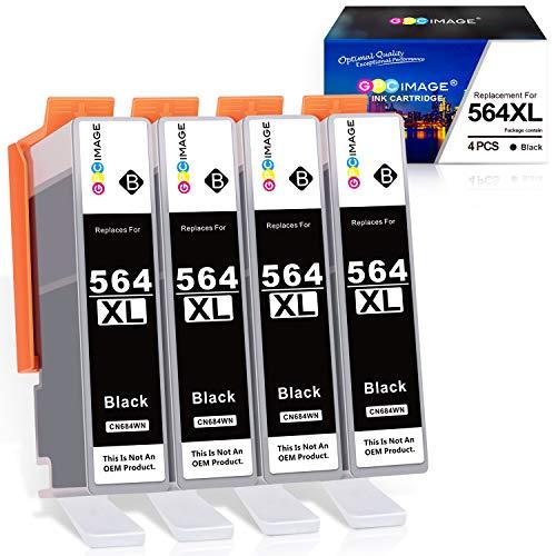 GPC Image - Cartucho de tinta compatible con HP 564XL 564 XL para uso con DeskJet 3520 3522 Officejet 4620 Photosmart 5520 6510 7520 7525 (4 negro)