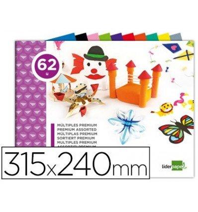 Liderpapel - Bloc trabajos manuales multiple premium 240x315mm 62 hojas colores surtidos (5 unidades)