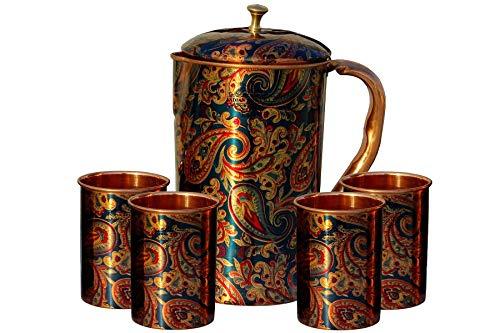 Indian Art Villa Copper Jug & Glass Set – 5 Pieces Set, Blue, Jug-1500 ML & Glass- 300 ML