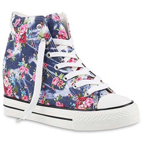 stiefelparadies Damen Sneakers High Top Keilabsatz Blumen Sneaker-Wedges Schuhe 139850 Dunkelblau Blumen 39 Flandell