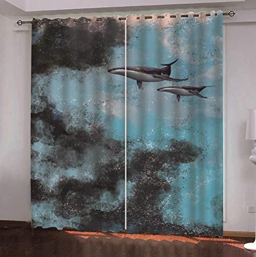 QDDRL Gordijn voor ramen, woonkamer, slaapkamer, verduistering, thermo-gordijn met oogjes voor modern huis, 2 panelen, wal van de hemel abstracte kunst