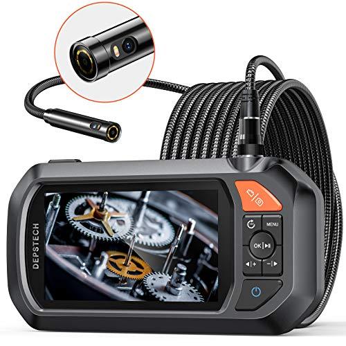 DEPSTECH Dual Lens Endoskopkamera, 4,3 Zoll IPS Bildschirm, Industrie Endoskop mit 3000mAh Akku, 1080P Inspektionskamera mit 7 LEDs, 32G Karte, Hartschalenkoffer, halbstarres Schlangenkabel(5m)