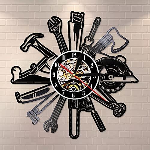 Coche herramienta de garaje disco de vinilo reloj de pared reparación mecánica reloj de bolsillo de coche herramienta de reparación reloj de reparación regalo hombre cueva decoración de la habitación
