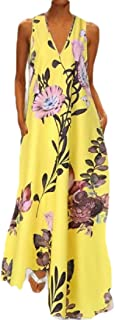 WSPLYSPJY Women's Summer Casual Floral Printed Bohemian Floral Long Maxi Dress with Pockets