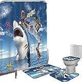 Juego de cortinas baño Accesorios baño alfombras Vida marina Alfombrilla baño Alfombra contorno Cubierta del inodoro Tiburones marinos de la vida marina marina inusual de los animales con Karate Kid y