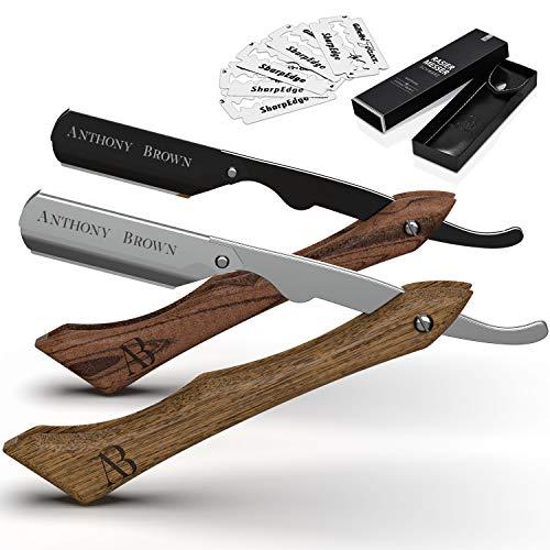 Anthony Brown® Rasiermesser Holz in Schwarz oder Silber - einzigartiger Klingenkopf für mehr Präzision - mit Wechselklingen und Etui - Rasiermesser Set
