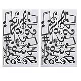 NUOBESTY 2 Piezas Notas Musicales Calcomanías de Pared Pegatina de Pared de Notación para Niños Dormitorio Sala de Música Sala de Baile Decoración de Arte de Vinilo Decoraciones de Casa (Negro)
