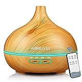 AIMIUVEI Humidificador Aromaterapia Ultrasonico con Mando a Distancia, Difusor de Aceites Esenciales Aromaterapia Ultra Silencioso, Apagado Automático y 7 Luces LED Humidificador para Bebes etc