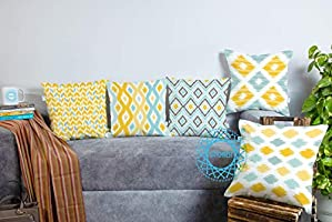 STITCHNEST Ikat Yellow Teal Printed Canvas Cotton Cushion Covers, Yellowteal Combo Set of 5 (16 x 16 Inches)