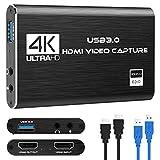 Tarjeta de captura de juegos, 4K Dispositivo de captura de video HDMI USB 3.0, Full HD 1080P para grabación de juegos, Transmisión en vivo