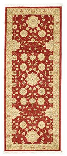 FeelGoodRugs 80 x 200 cm Läufer Teppich Ziegler Farahan Orient Teppich, Beige/Rot, Synthetisch, rot, 80x200