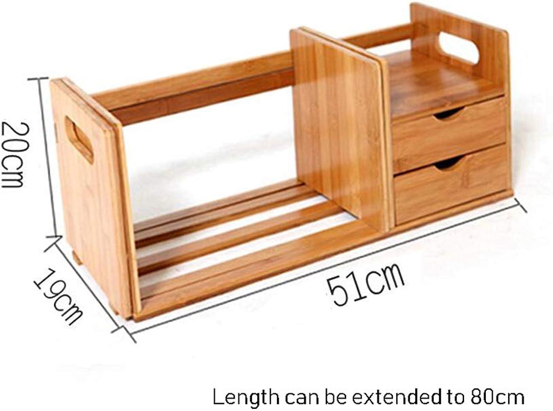 Bookshelf Natural Bamboo Organiser Desktop Stand Display Storage Office Home Household CJC (Size   T3)
