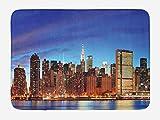 ABAKUHAUS Escena de NYC Tapete para Baño, Manhattan Ciudad Panorama, Decorativo de Felpa Estampada con Dorso Antideslizante, 45 cm x 75 cm, Violeta Oscuro Multicolor