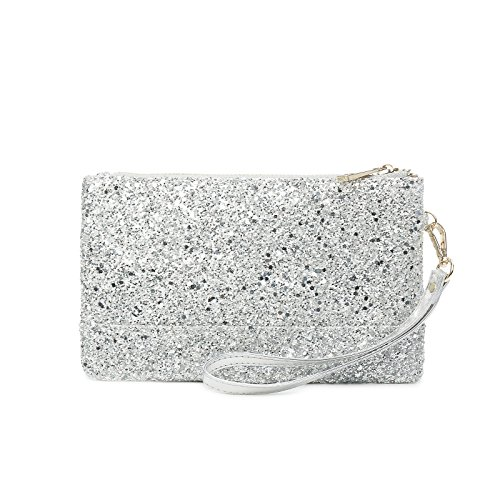 Lam Gallery Sparkling Clutch Purse Glitter Evening Clutch Bags Sequin Handbags Elegant Purses for Party Wedding Prom Bride-Silver