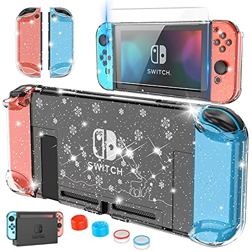 HEYSTOP Clear Case Compatible with Nintendo SwitchDockable with Screen Protector, Protective Case Cover for Nintendo Switch Joy-Con, Tempered Glass Screen Protector and 4 Pcs Thumb Caps (Snow)