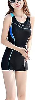 Foucome レディース 競泳水着 フィットネス 水着 大きいサイズ 女性 オールインワン 競泳水着 レディース 練習用 水泳ノースリーブ スポーツ水着 体型カバー