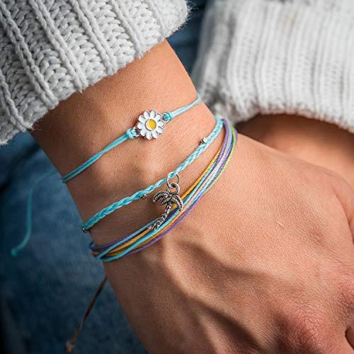 Made by Nami Surfer Armband 3-er Set für Frauen & Mädchen - Cooles Armband-Set, hergestellt aus 100% gewaxter Baumwolle - Handmade Festival Strand Accessoires - Freundschaftsarmbänder