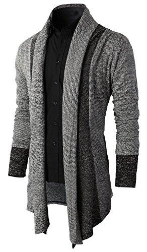 Brinny Herren Strickjacke Open Jacke Lang Cardigan Knit Mantel Strick Jacke Hoodie Hoody Sweatshirt Sweatblazer, Grau, DE S (Hersteller Größe M)