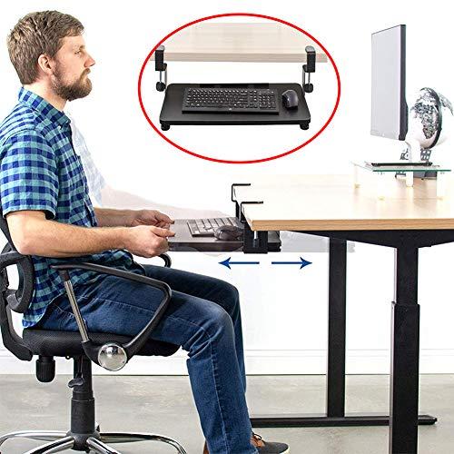 ZHANGZHIYUA Schreibtisch Tastatur Schiebeplattform Super Einfache Klemme Auf Tastaturablage Untertisch Ausziehbare Plattform Schublade Für Tastatur Und Maus, Keine Notwendigkeit Zu Stanzen