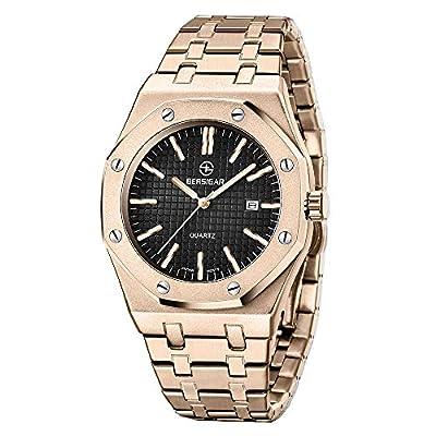 BERSIGAR Hombres Elegante Reloj de Cuarzo Sofisticado Reloj de Pulsera de Cuarzo analógico para Hombre Correa de Acero Inoxidable, Impermeable 50M