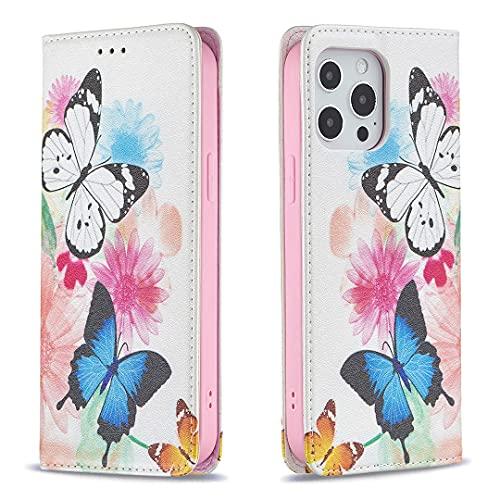 RZL fundas para teléfono celular para iPhone 13 Pro Max/13 Mini, cartera de moda con cremallera, funda para pintura magnética a prueba de golpes con ranura para tarjeta de cuero para iPhone 13 Pro /13