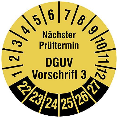 Labelident Mehrjahresprüfplakette 2022-2027 - Nächster Prüftermin DGUV Vorschrift 3 - Ø 20 mm, 500 widerstandsfähige Prüfplaketten auf Rolle, Vinyl, signalgelb, selbstklebend