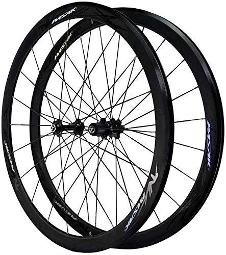 HJRD Bicicletas de Carretera 700C 40MM Juego de Ruedas de Bicicleta Ruedas de aleación Ultraligera de Doble Pared V Freno de liberación rápida Disco de rodamiento Palin 7 8 9 10 11/12 Velocidad