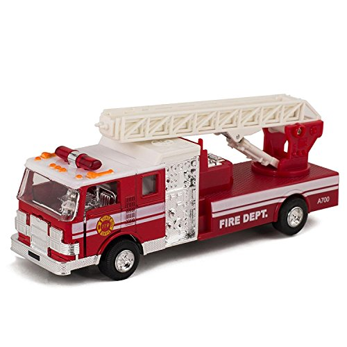 Master Toy Children's Collectible Die-Cast Metal Pull-Back Action & Sound Fire Engine Truck with Ladder, Red