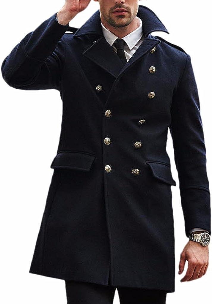 LIREROJE Mens Wool Blend Slim Double Breasted Trench Coat