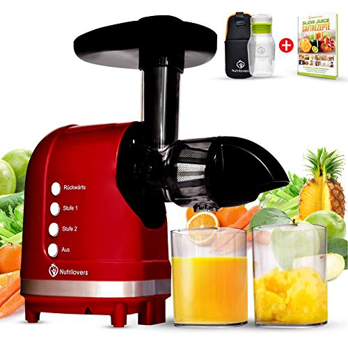 Nutrilovers MINI-PRESS Slow Juicer für Singles, Paare & Kleinere Küchen - Obst & Gemüse Entsafter elektrisch   100% BPA-Frei  Inkl. Juice Trinkflasche + Rezepte