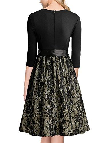 Miusol Elegant Vintage Spitzenkleid 3/4 Arm Hochzeit Brautjungfer Schleife Abendkleider - 2
