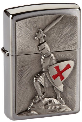 Zippo Zippo Feuerzeug 1300103 Crusade Victory Benzinfeuerzeug, Messing, brushed chrome, 1 x 3,5 x 5,5 cm Brushed Chrome