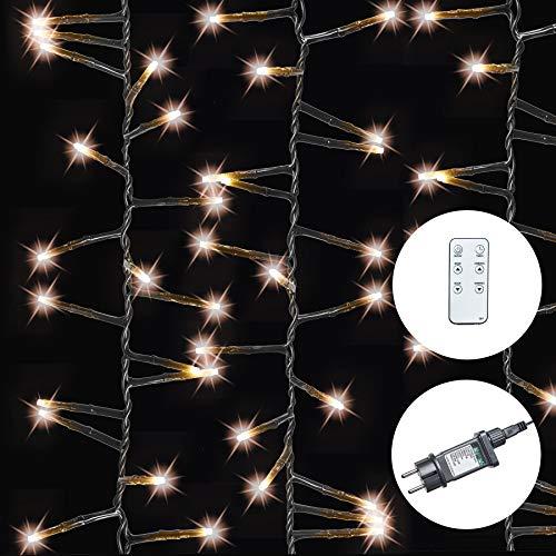 AMARE Galaxie Lichterkette 400 LED warmweiß Länge 6,7 m (zzgl. 10 m Zuleitung) , CE + GS geprüft, für den Innen- und Außenbereich, 8 Leuchtmodi/Fernbedienung/Timer/Dimmfunktion