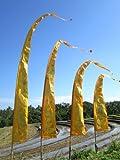 Asiastyle Sale - Bali-Fahne, Hellorange mit Gold-Aufdruck 5 Meter