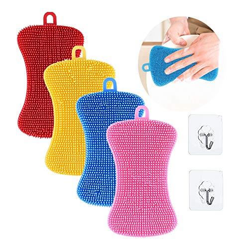Esponja de silicona para platos, 4 esponjas de cocina y 2 piezas de gancho de cocina platos de silicona para fregar platos de cocina esponjas para lavar utensilios de limpieza